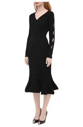 Женское шерстяное платье ALEXANDER MCQUEEN черного цвета, арт. 633684/Q1AQH | Фото 3
