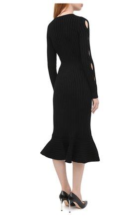 Женское шерстяное платье ALEXANDER MCQUEEN черного цвета, арт. 633684/Q1AQH | Фото 4