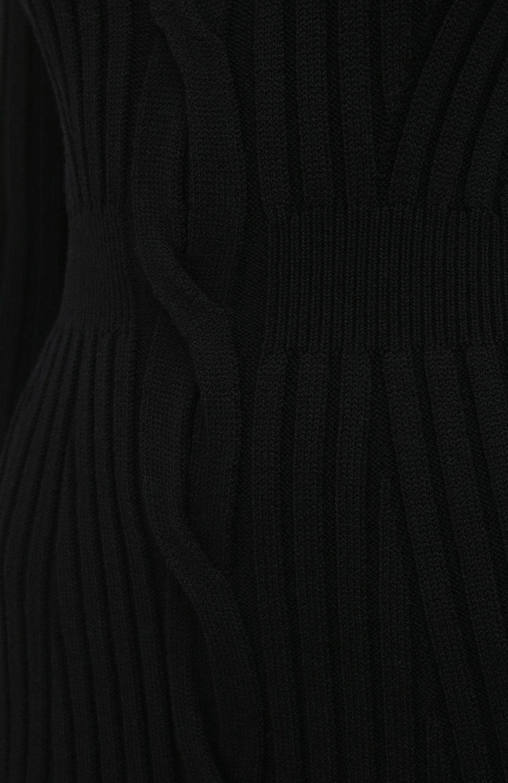 Женское шерстяное платье ALEXANDER MCQUEEN черного цвета, арт. 633684/Q1AQH | Фото 5