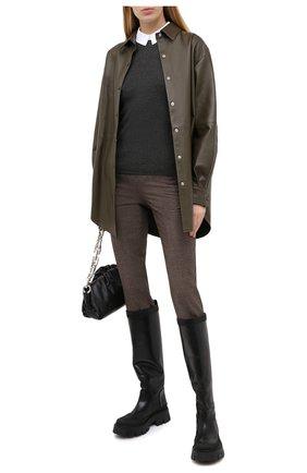 Женские шерстяные брюки MAISON MARGIELA коричневого цвета, арт. S51KA0530/S53200   Фото 2