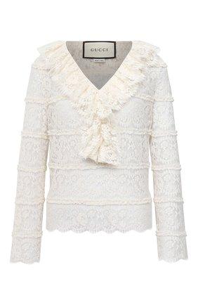 Женская блузка GUCCI белого цвета, арт. 633308/ZAFI4 | Фото 1