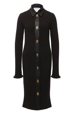 Женское платье из шерсти и хлопка BOTTEGA VENETA темно-коричневого цвета, арт. 629363/VKVX0 | Фото 1