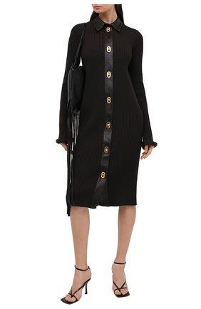 Женское платье из шерсти и хлопка BOTTEGA VENETA темно-коричневого цвета, арт. 629363/VKVX0 | Фото 2