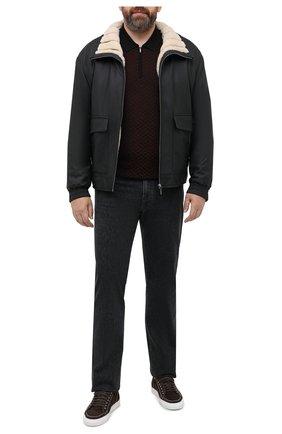 Мужской кожаный бомбер ZILLI черного цвета, арт. MAS-GALIE-01960/0003/60-64 | Фото 2 (Рукава: Длинные; Длина (верхняя одежда): Короткие; Материал утеплителя: Шерсть; Мужское Кросс-КТ: Верхняя одежда, Кожа и замша; Принт: Без принта; Big sizes: Big Sizes; Стили: Кэжуэл; Кросс-КТ: Куртка)