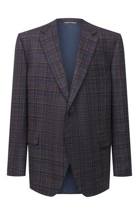 Мужской пиджак из шелка и кашемира CANALI коричневого цвета, арт. T11280/CX02819/60-64   Фото 1 (Длина (для топов): Стандартные; Материал внешний: Шелк, Шерсть; Рукава: Длинные; Материал подклада: Купро; Пиджаки М: Прямой; 1-2-бортные: Однобортные; Big sizes: Big Sizes; Стили: Классический; Случай: Коктейльный)