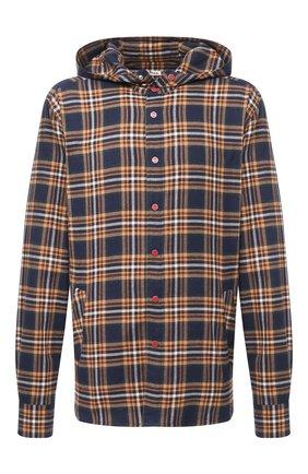 Мужская хлопковая рубашка KITON темно-синего цвета, арт. UMCMARH0748608/45-50 | Фото 1