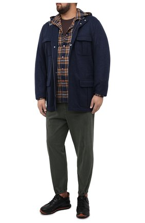 Мужская хлопковая рубашка KITON темно-синего цвета, арт. UMCMARH0748608/45-50 | Фото 2