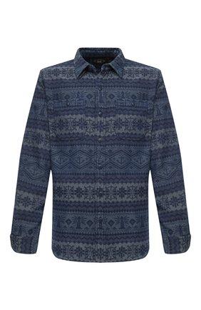 Мужская хлопковая рубашка RRL синего цвета, арт. 782799927 | Фото 1