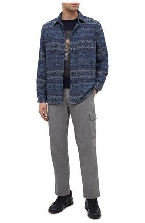 Мужская хлопковая рубашка RRL синего цвета, арт. 782799927 | Фото 2