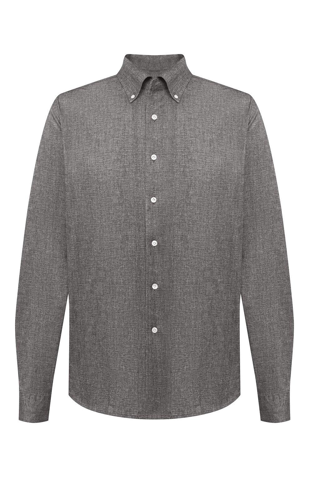 Мужская хлопковая рубашка SONRISA коричневого цвета, арт. IFJ7167/J134/47-51   Фото 1