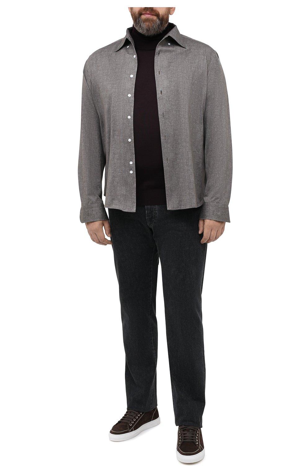 Мужская хлопковая рубашка SONRISA коричневого цвета, арт. IFJ7167/J134/47-51   Фото 2