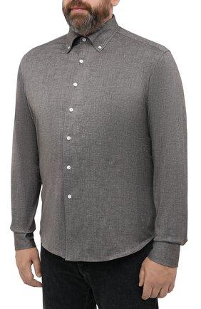 Мужская хлопковая рубашка SONRISA коричневого цвета, арт. IFJ7167/J134/47-51   Фото 3