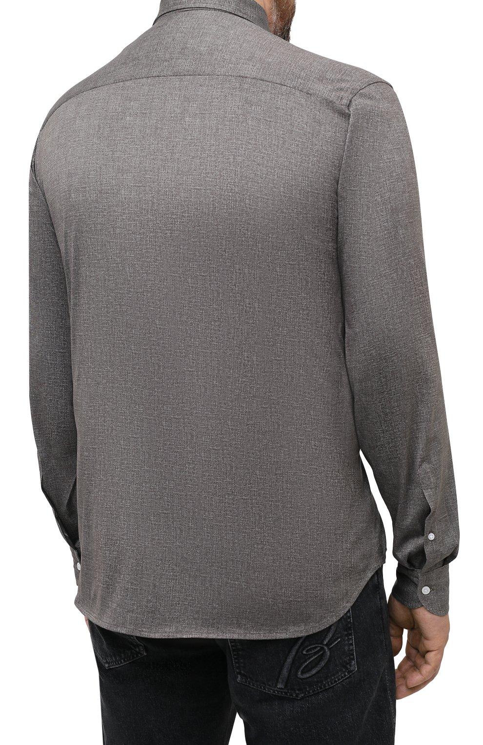 Мужская хлопковая рубашка SONRISA коричневого цвета, арт. IFJ7167/J134/47-51   Фото 4
