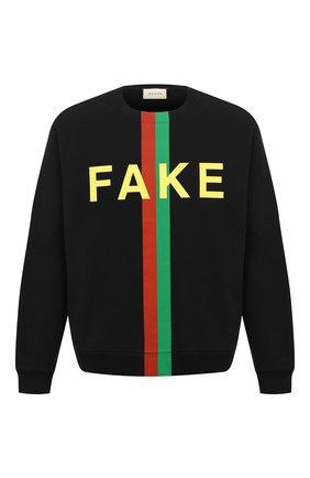 Мужской хлопковый свитшот «fake/not» GUCCI черного цвета, арт. 635847/XJCXY | Фото 1