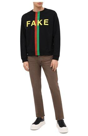 Мужской хлопковый свитшот «fake/not» GUCCI черного цвета, арт. 635847/XJCXY | Фото 2