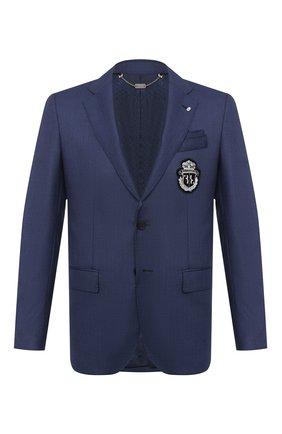 Мужской шерстяной пиджак BILLIONAIRE темно-синего цвета, арт. W20C MRF1253 BTE004N   Фото 1
