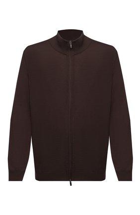 Мужской шерстяной кардиган SVEVO коричневого цвета, арт. 0918/9XSA20/MP09 | Фото 1 (Материал внешний: Шерсть; Длина (для топов): Стандартные; Рукава: Длинные; Мужское Кросс-КТ: Кардиган-одежда; Big sizes: Big Sizes; Стили: Кэжуэл)