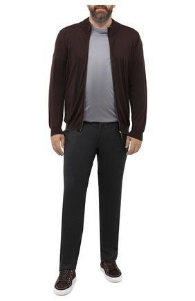 Мужской шерстяной кардиган SVEVO коричневого цвета, арт. 0918/9XSA20/MP09 | Фото 2 (Материал внешний: Шерсть; Длина (для топов): Стандартные; Рукава: Длинные; Мужское Кросс-КТ: Кардиган-одежда; Big sizes: Big Sizes; Стили: Кэжуэл)