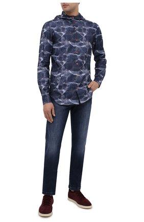 Мужская хлопковая рубашка KITON синего цвета, арт. UMCMARH0748301 | Фото 2