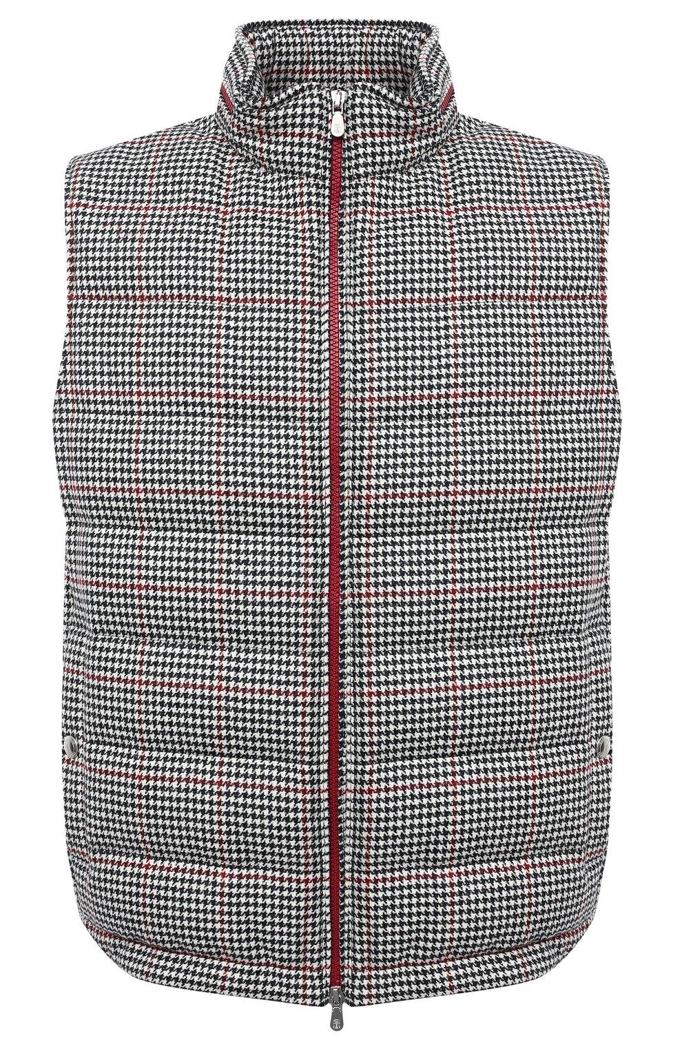 Мужской пуховый жилет BRUNELLO CUCINELLI черно-белого цвета, арт. MN4831714 | Фото 1