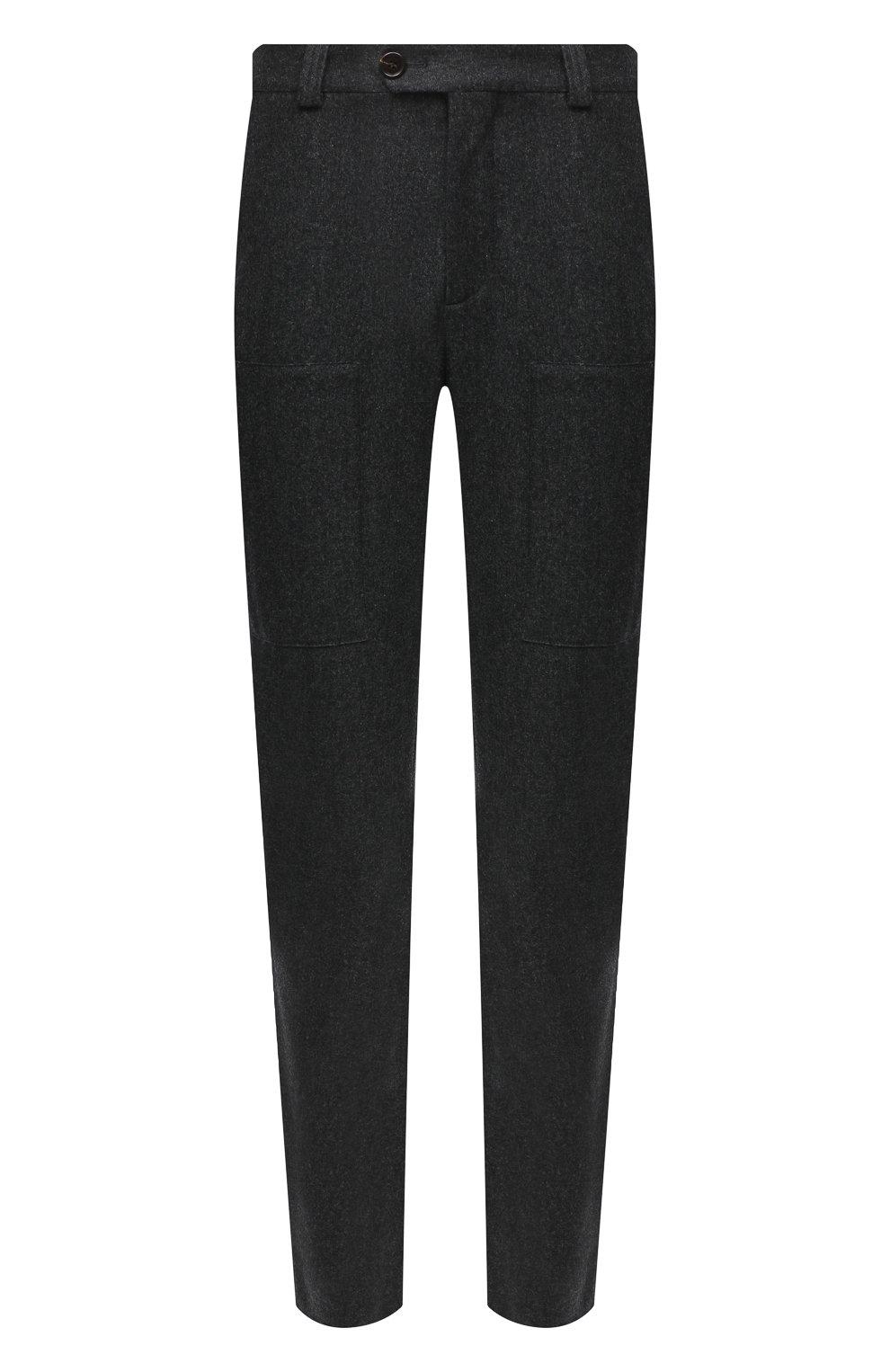 Мужские шерстяные брюки BRUNELLO CUCINELLI темно-серого цвета, арт. M038PE1460 | Фото 1