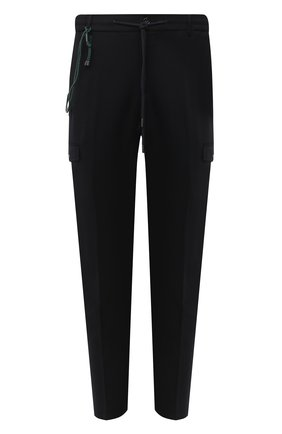 Мужские шерстяные брюки-карго BERWICH темно-синего цвета, арт. SUB/RD5470 | Фото 1 (Длина (брюки, джинсы): Стандартные; Материал подклада: Купро; Материал внешний: Шерсть; Силуэт М (брюки): Карго; Случай: Повседневный; Стили: Кэжуэл)