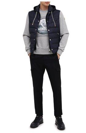 Мужские шерстяные брюки-карго BERWICH темно-синего цвета, арт. SUB/RD5470 | Фото 2 (Длина (брюки, джинсы): Стандартные; Материал подклада: Купро; Материал внешний: Шерсть; Силуэт М (брюки): Карго; Случай: Повседневный; Стили: Кэжуэл)