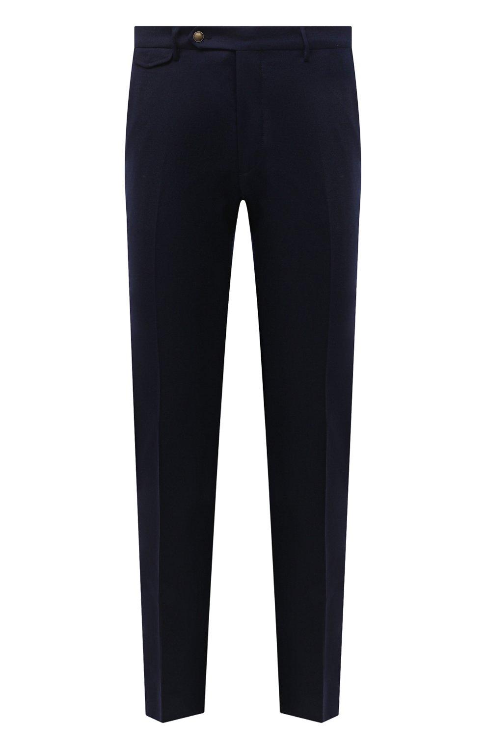 Мужские шерстяные брюки BERWICH темно-синего цвета, арт. VULCAN0Z/VB8996 | Фото 1 (Материал внешний: Шерсть; Длина (брюки, джинсы): Стандартные; Случай: Повседневный; Материал подклада: Купро; Стили: Кэжуэл)
