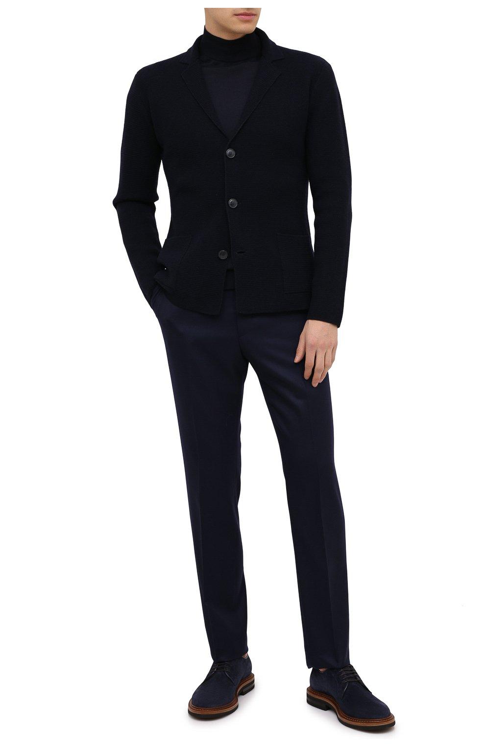 Мужские шерстяные брюки BERWICH темно-синего цвета, арт. VULCAN0Z/VB8996 | Фото 2 (Материал внешний: Шерсть; Длина (брюки, джинсы): Стандартные; Случай: Повседневный; Материал подклада: Купро; Стили: Кэжуэл)