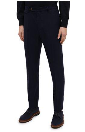 Мужские шерстяные брюки BERWICH темно-синего цвета, арт. VULCAN0Z/VB8996 | Фото 3 (Материал внешний: Шерсть; Длина (брюки, джинсы): Стандартные; Случай: Повседневный; Материал подклада: Купро; Стили: Кэжуэл)