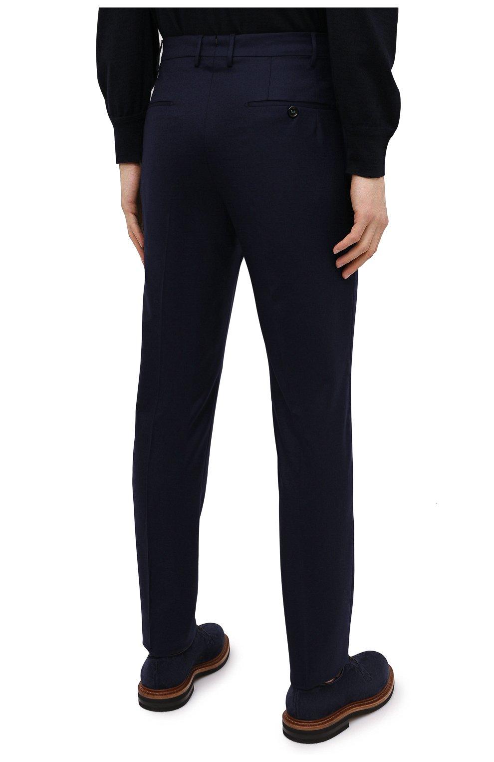 Мужские шерстяные брюки BERWICH темно-синего цвета, арт. VULCAN0Z/VB8996 | Фото 4 (Материал внешний: Шерсть; Длина (брюки, джинсы): Стандартные; Случай: Повседневный; Материал подклада: Купро; Стили: Кэжуэл)