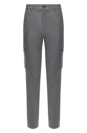 Мужские шерстяные брюки-карго BRIONI серого цвета, арт. RPAB0L/0ZA0J/RANGIR0A | Фото 1 (Длина (брюки, джинсы): Стандартные; Материал внешний: Шерсть; Силуэт М (брюки): Карго; Случай: Повседневный; Стили: Кэжуэл)