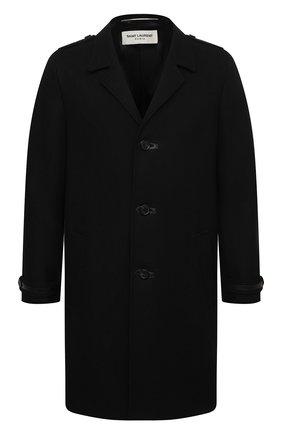 Мужской шерстяное пальто SAINT LAURENT черного цвета, арт. 626834/Y1B71 | Фото 1