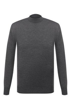 Мужской шерстяная водолазка BRIONI темно-серого цвета, арт. UMU70L/0ZK28 | Фото 1 (Длина (для топов): Стандартные; Рукава: Длинные; Материал внешний: Шерсть; Мужское Кросс-КТ: Водолазка-одежда; Принт: Без принта; Стили: Классический)