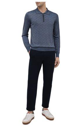 Мужское поло из шерсти шелка BRIONI синего цвета, арт. UMS10L/09K80 | Фото 2