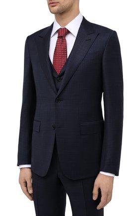 Мужской костюм-тройка из шерсти и шелка ERMENEGILDO ZEGNA темно-синего цвета, арт. 816546/327B25 | Фото 2