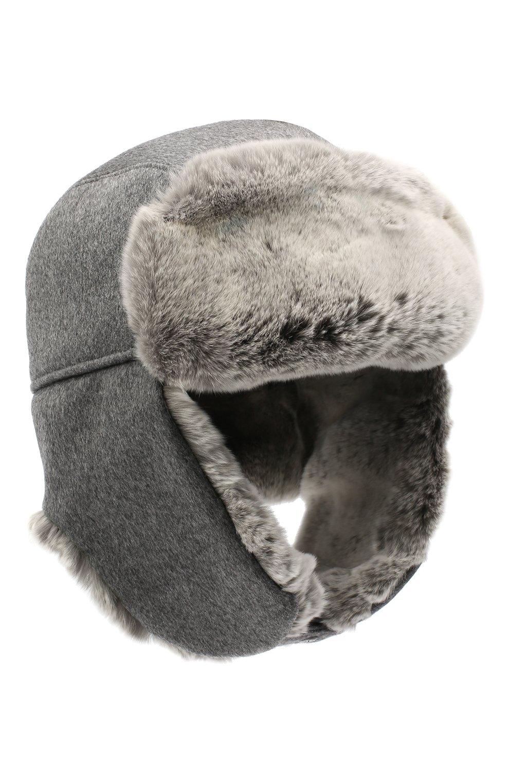 Мужская шапка из меха кролика ERMENEGILDO ZEGNA серого цвета, арт. Z8I22/B2H   Фото 1