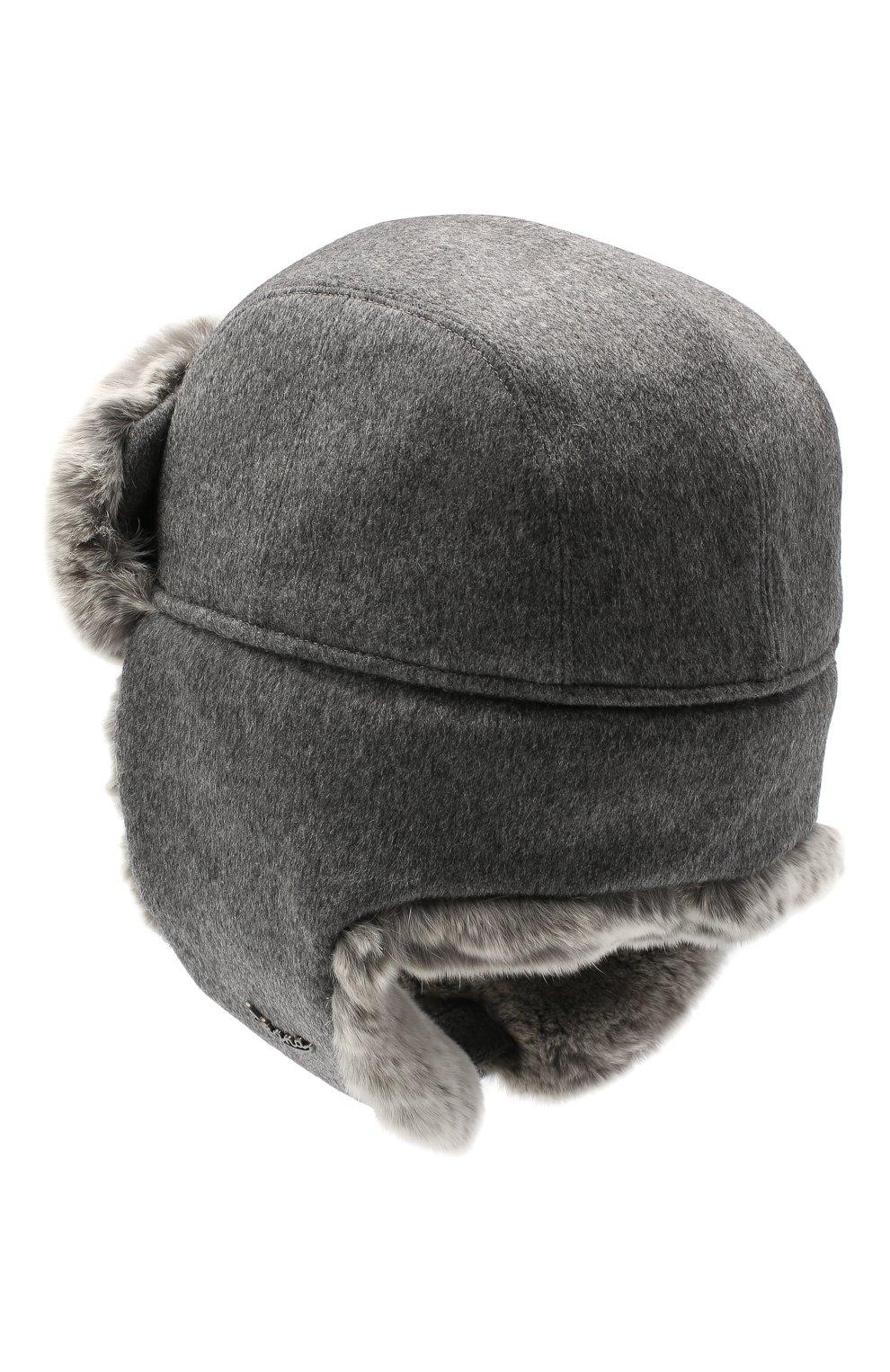 Мужская шапка из меха кролика ERMENEGILDO ZEGNA серого цвета, арт. Z8I22/B2H   Фото 2