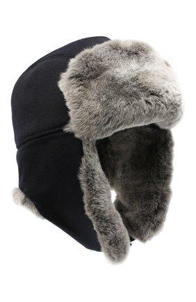 Мужская шапка из меха кролика ERMENEGILDO ZEGNA темно-синего цвета, арт. Z8I22/B2H | Фото 1