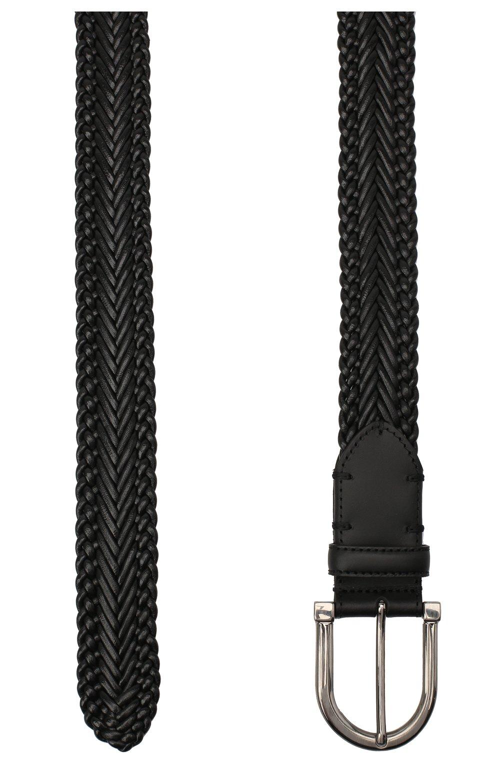 Мужской кожаный ремень ERMENEGILDO ZEGNA черного цвета, арт. BTRE3G/J1228A   Фото 2