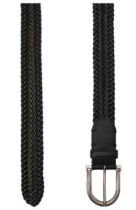 Мужской кожаный ремень ERMENEGILDO ZEGNA черного цвета, арт. BTRE3G/J1228A | Фото 2
