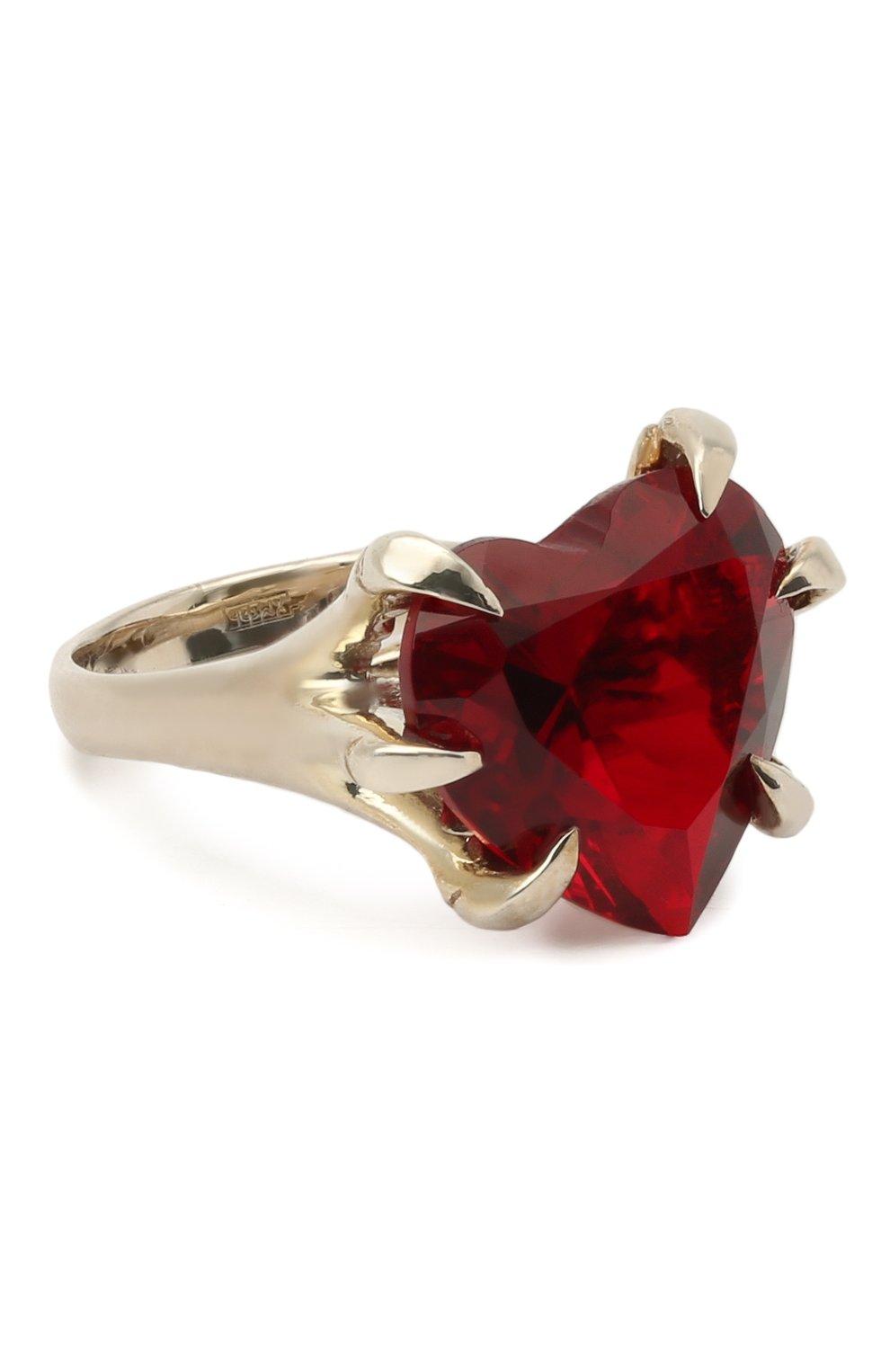 Женское кольцо claw DZHANELLI красного цвета, арт. 03 | Фото 1 (Материал: Серебро)