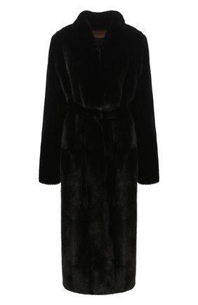 Женская шуба из меха норки YVES SALOMON черного цвета, арт. 7WYM75720VLVR/BLACK/48 | Фото 1