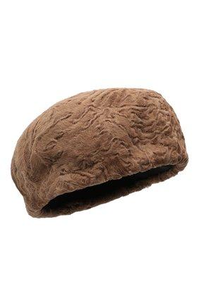 Женский берет из меха каракульчи KUSSENKOVV светло-коричневого цвета, арт. 17100005008 | Фото 1