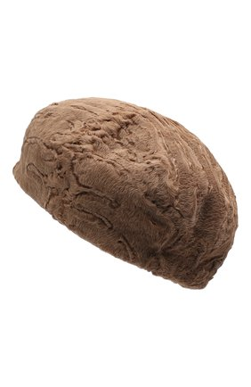 Женский берет из меха каракульчи KUSSENKOVV светло-коричневого цвета, арт. 17100005008 | Фото 2