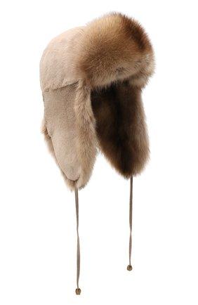 Женская шапка-ушанка из меха норки и соболя KUSSENKOVV бежевого цвета, арт. 91910094094 | Фото 1