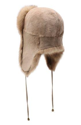 Женская шапка-ушанка из меха норки и соболя KUSSENKOVV бежевого цвета, арт. 91910094094 | Фото 2