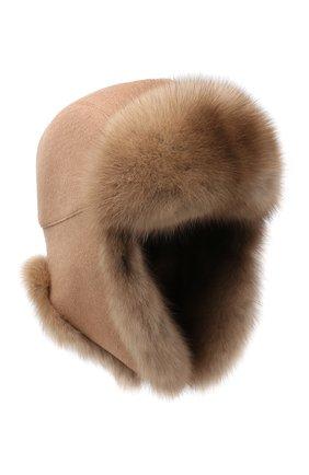 Женская шапка-ушанка с меховой отделкой KUSSENKOVV светло-коричневого цвета, арт. 99103605153 | Фото 1