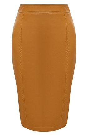 Женская кожаная юбка SAINT LAURENT бежевого цвета, арт. 635199/YCDJ2 | Фото 1