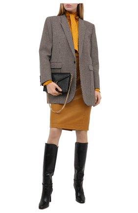 Женская кожаная юбка SAINT LAURENT бежевого цвета, арт. 635199/YCDJ2 | Фото 2